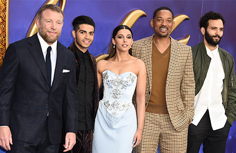 The cast of Disney's Aladdin on the red carpet including Will Smith and Guy Ritchie