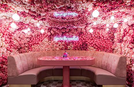 Elan cafe pink floral booth, London