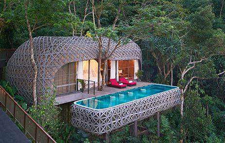 Treehouse accommodation with infinity pool at  Keemala Phuket