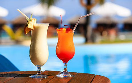 Delicious cocktails poolside