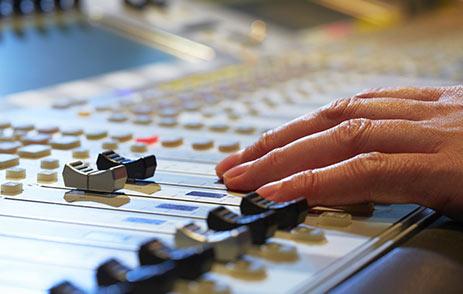 Hands on decks in a recording studio