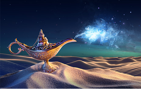 Aladdin's lamp in the desert with genie coming out