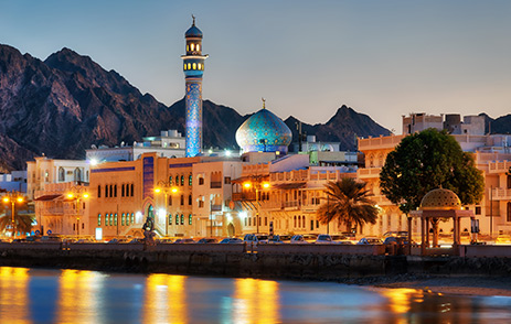 Muscat, Oman port at night