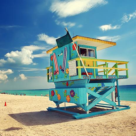 Miami Beach Colourful Lifeguard Watch Tower