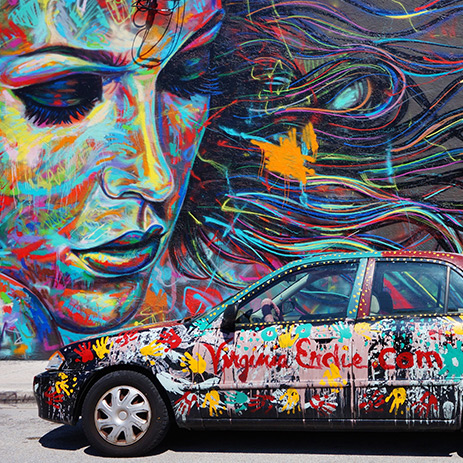 Wynwood Walls Mural painted wall and car