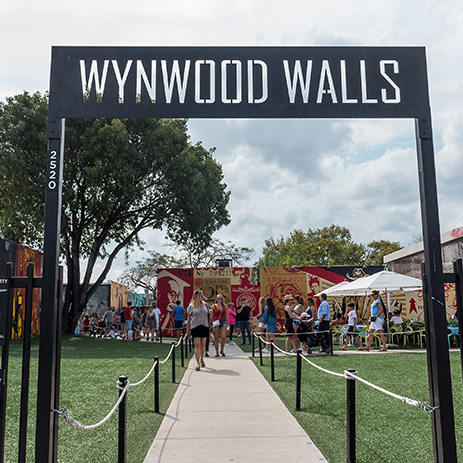 Welcome sign to Miami's Wynwood Walls Street Art Exhibition