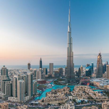 Burj Khalifa and other Dubai city buildings