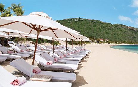 Sun loungers in a row on a sandy beach in the Caribbean