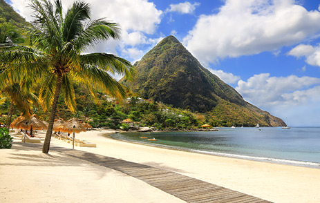 The Pitons from a stunning beach in St. Lucia