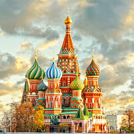 The colourful St. Basil's Cathedral, Moscow