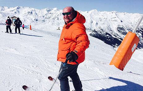 Alan Brazil on a family holiday skiing in Europe
