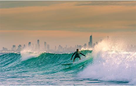 Man surfing on the Gold Coast, Australia