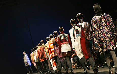 Line of models on fashion catwalk in Seoul